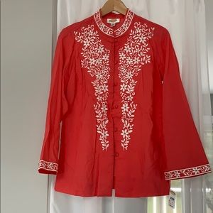 Talbots Embroidered Mandarin Tunic